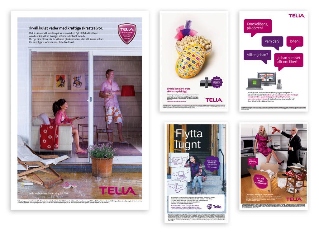 Produktnära annonser med erbjudanden för video-on-demand (en stor nyhet då), digital-tv (tv via bredbandet), fiberanslutning samt två annonser med erbjudande riktade till abonnenter som planerar att flytta (med skiftande Telia-profil).