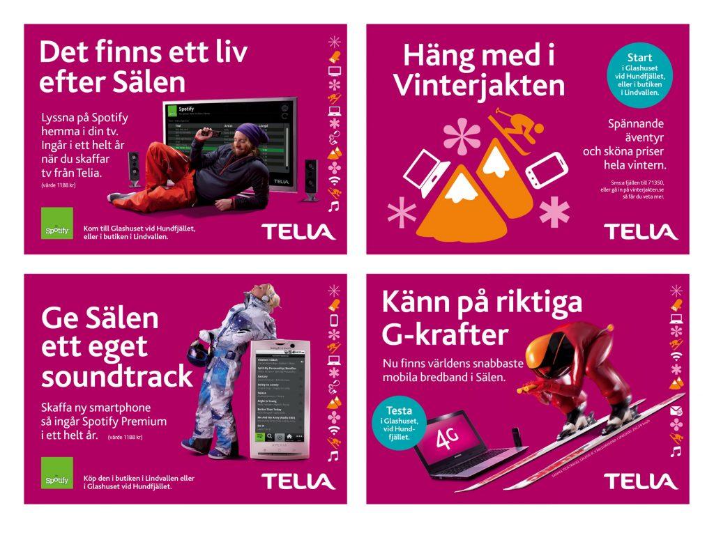"""Hundratusentals svenskar vistas varje år i de populära vintersportorterna Åre och Sälen. Här har Telia en stark närvaro med både försäljningsställen och olika event i backarna.  Bland annat i """"glashus"""" uppställda vid Hundfjället och Åre Björnen. Under flera säsonger skapade vi grafiska manér, annonser, liftskyltar och lokala stortavlor, som de här."""