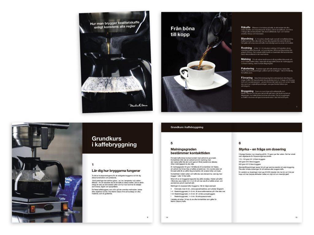 Grundkurs i kaffebryggning. Broschyr för Martin Olsson.