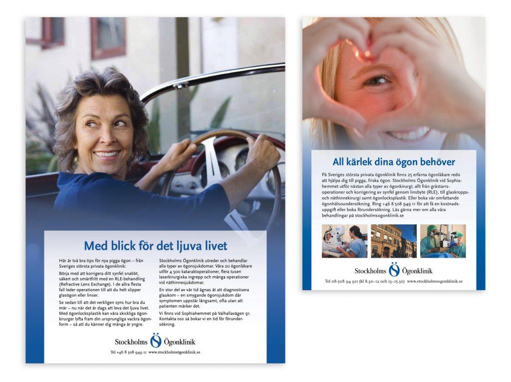 Annonser för Stockholms Ögonklinik.