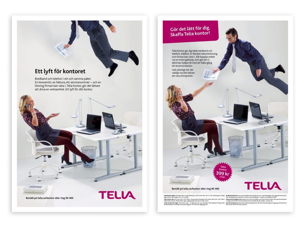 Två på varandra följande annonser för företagstjänst från Telia.